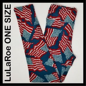 LuLaRoe American Flag OS Leggings RARE UNICORN